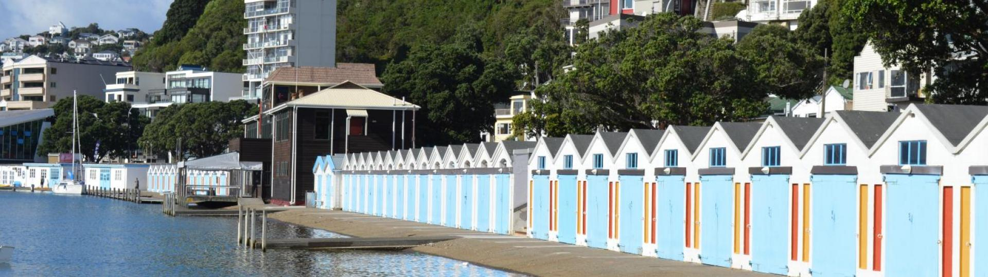 Boat sheds along Oriental Parade